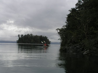 seakayaking between islands in Todos Los Santos Lake