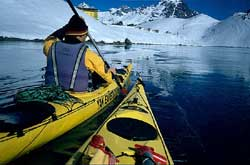 sea kayaking the Inca Lagoon -Portillo